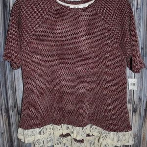 Liberty Love 1X Short Sleeve Sweater Lace Trim New